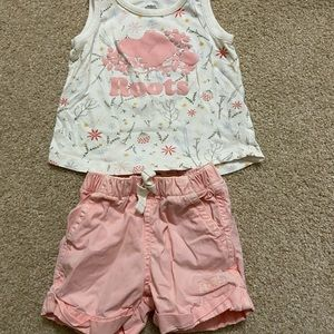 Roots Baby Girl Pink Tank and Shorts Small (3-6M)